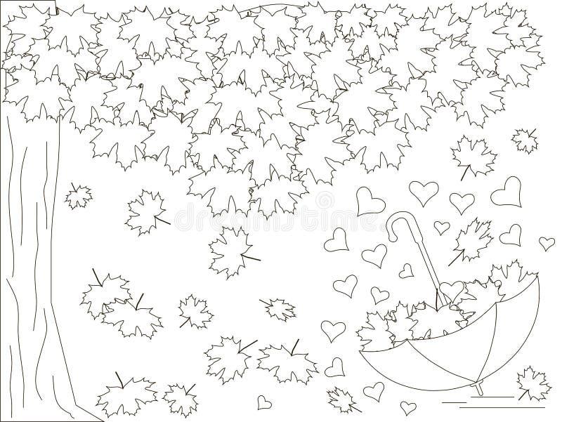 Μονοχρωματικό ρομαντικό υπόβαθρο με το δέντρο σφενδάμνου, ομπρέλα, καρδιές, μειωμένα φύλλα σφενδάμου που χρωματίζει το βιβλίο διανυσματική απεικόνιση