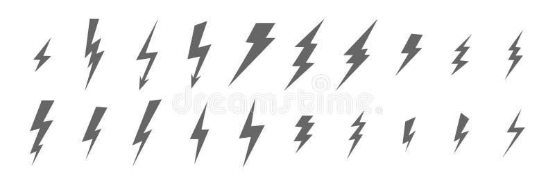 Μονοχρωματικό σύνολο λάμψης, αστραπής, ηλεκτρικός, βροντής, εικονιδίων των διαφορετικών τύπων και μεγεθών του σκούρο γκρι χρώματο απεικόνιση αποθεμάτων