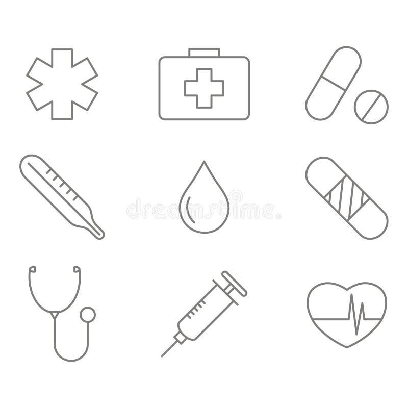Μονοχρωματικό σύνολο με τα εικονίδια γραμμών ιατρικής ελεύθερη απεικόνιση δικαιώματος