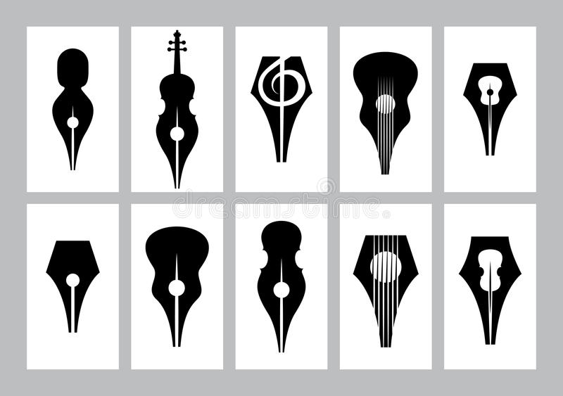 Μονοχρωματικό σύνολο προτύπων για τη επαγγελματική κάρτα με nib, κιθάρα, βιολί, τριπλό clef απεικόνιση αποθεμάτων