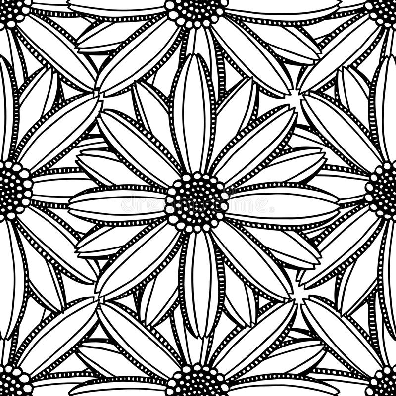 Μονοχρωματικό floral σχέδιο διανυσματική απεικόνιση