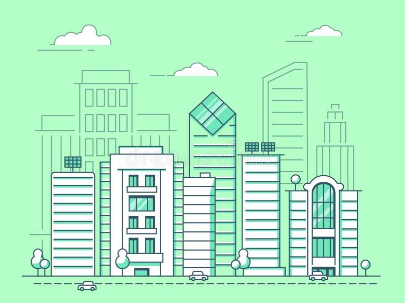 Μονο απεικονίσεις γραμμών του αστικού τοπίου με τα επιχειρησιακά κτήρια διανυσματική απεικόνιση