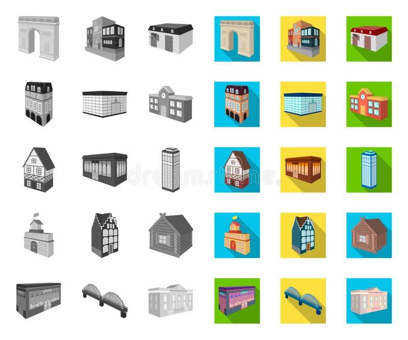 Μονο, επίπεδα εικονίδια κτηρίου και αρχιτεκτονικής στην καθορισμένη συλλογή για το σχέδιο Το διανυσματικό isometric σύμβολο κτηρί ελεύθερη απεικόνιση δικαιώματος