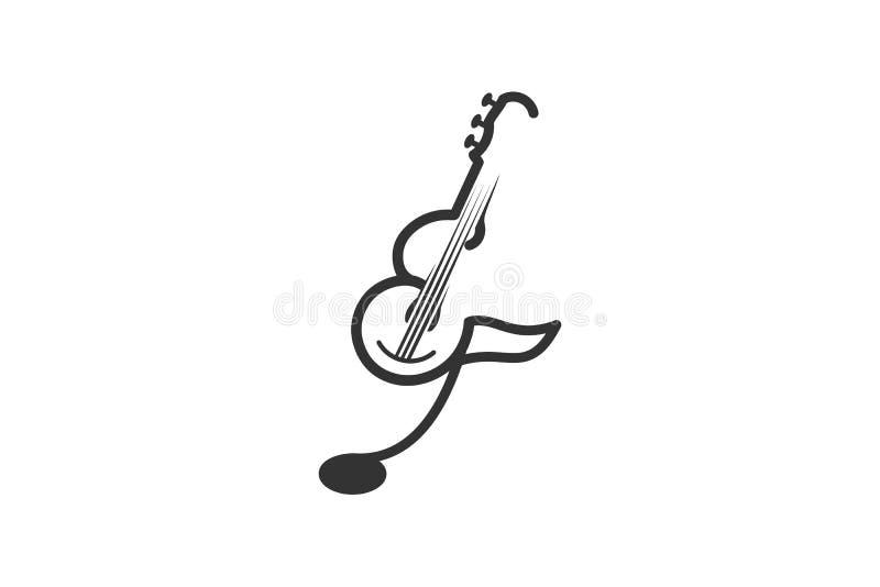 μονο κιθάρα γραμμών, ukulele μουσική έμπνευση λογότυπων που απομονώνεται στο άσπρο υπόβαθρο απεικόνιση αποθεμάτων