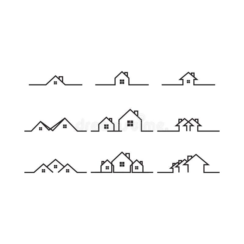 Μονο πρότυπο σχεδίου εικονιδίων λογότυπων σπιτιών ακίνητων περιουσιών γραμμών διανυσματική απεικόνιση