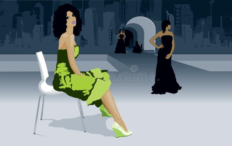 Μοντέλα εβδομάδας μόδας στο στενό διάδρομο διανυσματική απεικόνιση