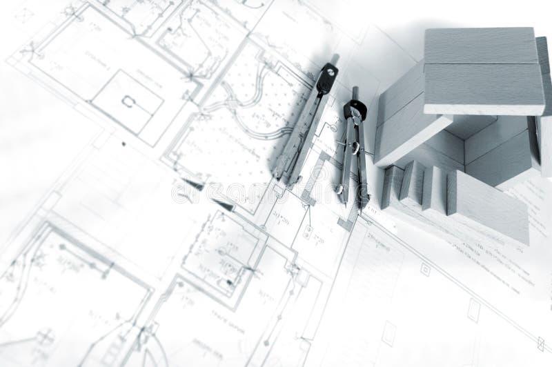 μοντέλο σπιτιών σχεδιαγραμμάτων ξύλινο στοκ εικόνες