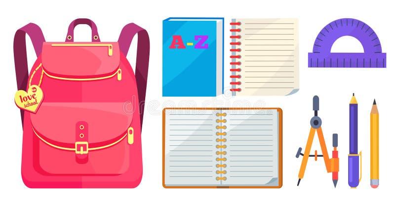 Μοντέρνα πρότυπο σακιδίων και σχολικό εξάρτημα απεικόνιση αποθεμάτων