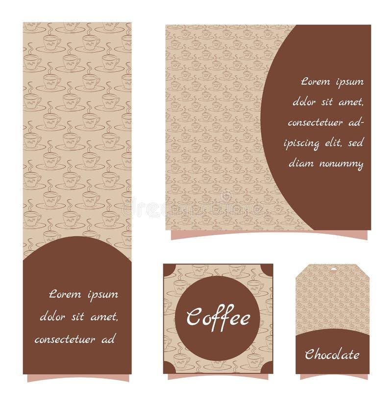 Μοντέρνα σχέδια με ένα σχέδιο καφέ Ένα φλυτζάνι του κακάου ή του καφέ Μπεζ εμβλήματα με τα καφετιά αντικείμενα Τετραγωνικά, κάθετ ελεύθερη απεικόνιση δικαιώματος
