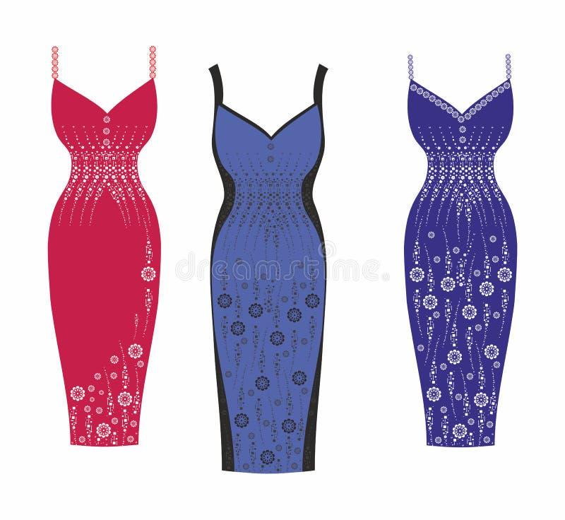 Μοντέρνα φορέματα για τα κορίτσια. Αγορές μόδας. Διανυσματική απεικόνιση ελεύθερη απεικόνιση δικαιώματος