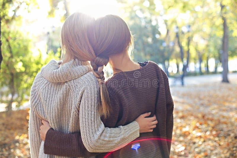 Μοντέρνες όμορφες νέες φίλες με τα hairdress μαζί στο υπόβαθρο πάρκων φθινοπώρου Κατοχή της διασκέδασης και τοποθέτηση στοκ εικόνες