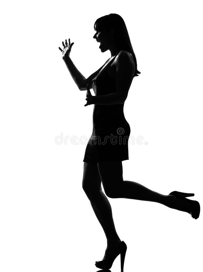 Μοντέρνη έκπληκτη γυναίκα υποδοχή σκιαγραφιών στοκ εικόνα