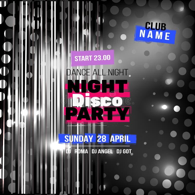 Μοντέρνη έννοια σχεδίου ιπτάμενων ή εμβλημάτων κομμάτων disco νύχτας διανυσματική απεικόνιση