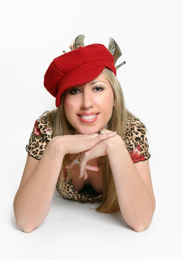 μοντέρνη γυναίκα καπέλων στοκ εικόνες με δικαίωμα ελεύθερης χρήσης