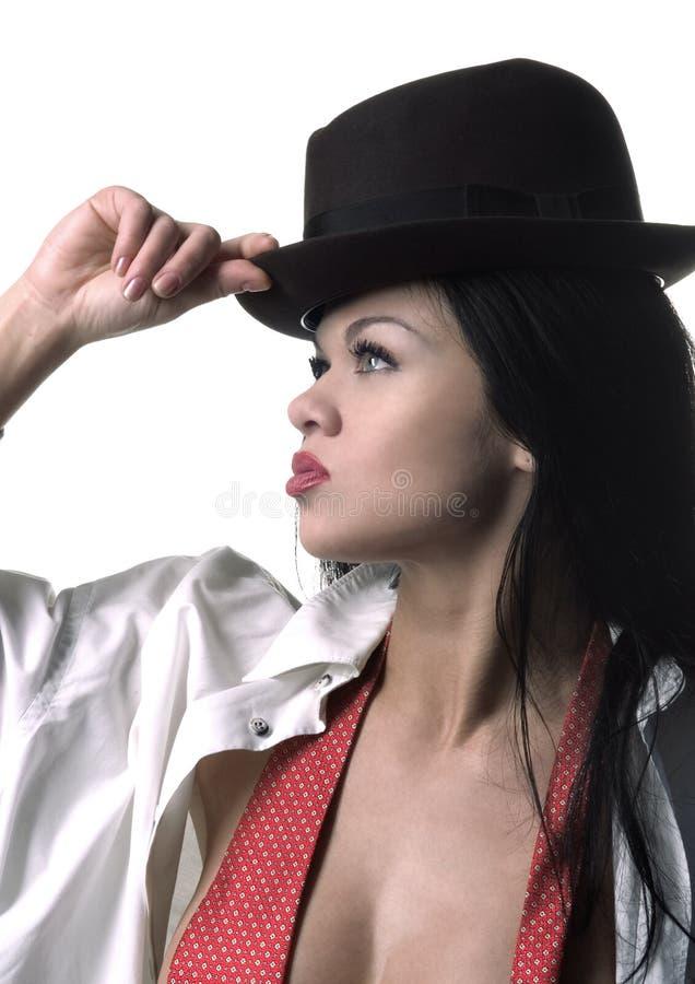 μοντέρνη γυναίκα καπέλων στοκ εικόνα με δικαίωμα ελεύθερης χρήσης