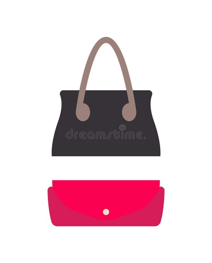 Μοντέρνη θηλυκή τσάντα δέρματος και μικρό πορτοφόλι ελεύθερη απεικόνιση δικαιώματος