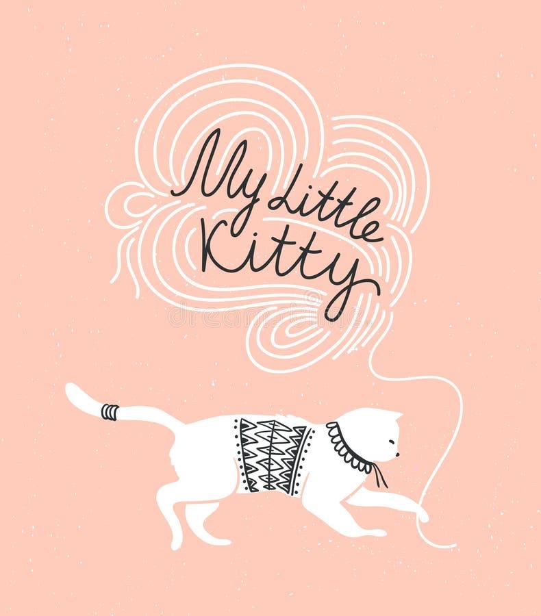 Μοντέρνη διανυσματική κάρτα με τη χαριτωμένη άσπρη γάτα και μοντέρνος γράφοντας το «μικρό γατάκι μου» στο grunge απεικόνιση αποθεμάτων