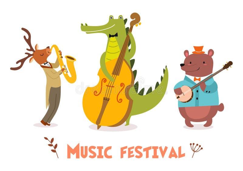 Μοντέρνη κάρτα ή αφίσα με τη χαριτωμένη ζωική ζώνη στο ύφος κινούμενων σχεδίων Διανυσματική απεικόνιση με τους ζωικούς μουσικούς  διανυσματική απεικόνιση