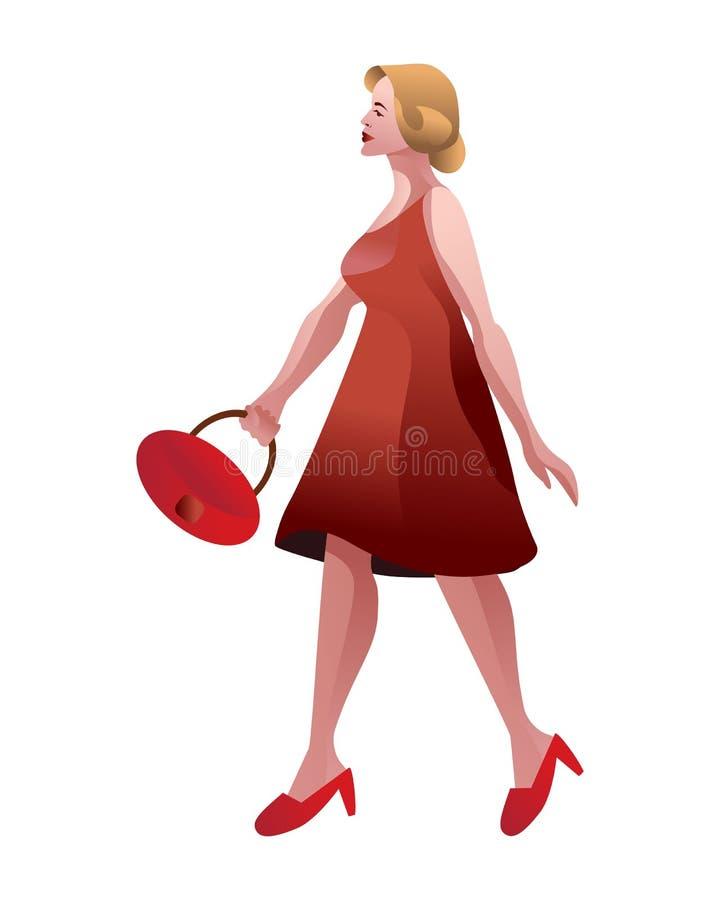 Μοντέρνη κυρία που περπατά κομψά με το διάνυσμα τσαντών που απομονώνεται ελεύθερη απεικόνιση δικαιώματος