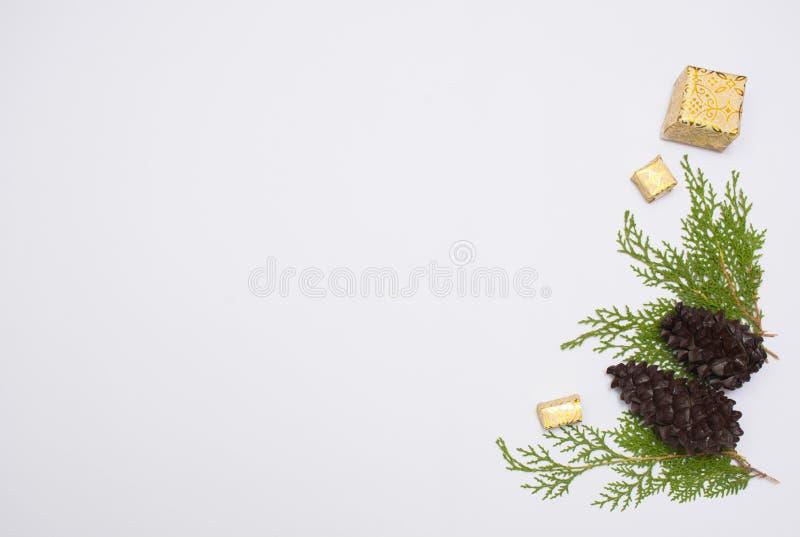 Μοντέρνη σύνθεση Χριστουγέννων κλάδοι έλατου, κώνοι και δώρα Χριστουγέννων στο άσπρο υπόβαθρο Επίπεδος βάλτε τη τοπ άποψη στοκ εικόνα με δικαίωμα ελεύθερης χρήσης