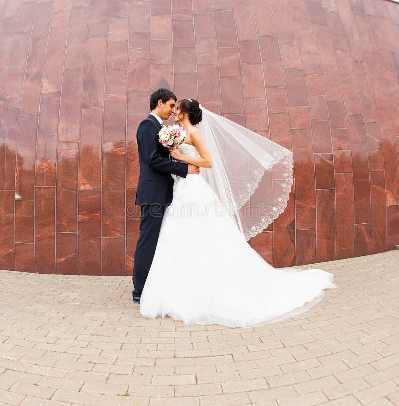 Μοντέρνοι όμορφοι ευτυχείς νύφη και νεόνυμφος, γάμος στοκ εικόνες