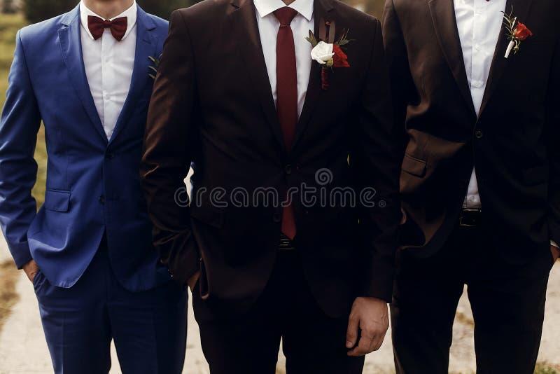 Μοντέρνος νεόνυμφος με groomsmen στα κοστούμια με την τοποθέτηση μπουτονιέρων, γ στοκ εικόνες