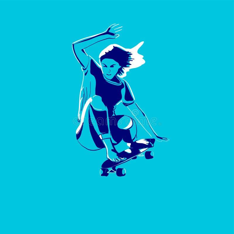 Μοντέρνος σκέιτερ κοριτσιών Skateboard Διανυσματική απεικόνιση για μια κάρτα ή μια αφίσα, τυπωμένη ύλη για τα ενδύματα Πολιτισμοί διανυσματική απεικόνιση