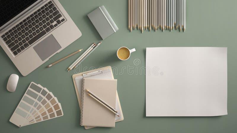 Μοντέρνο ελάχιστο επιτραπέζιο γραφείο γραφείων Ο χώρος εργασίας με το lap-top, το σημειωματάριο, τα μολύβια, το φλυτζάνι καφέ και διανυσματική απεικόνιση