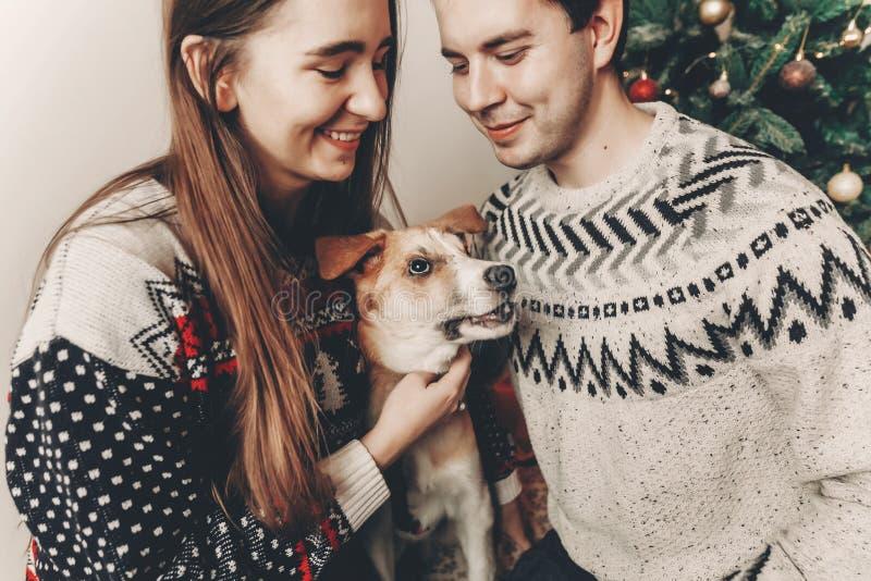 Μοντέρνο ζεύγος hipster στα πουλόβερ που παίζει με το σκυλί και το χαμόγελο στοκ εικόνες