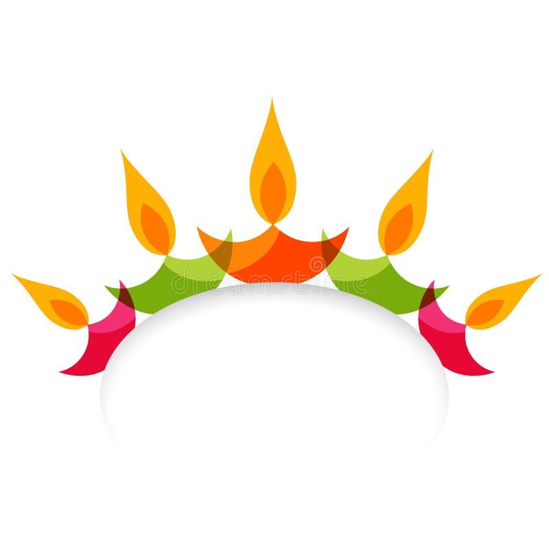 Μοντέρνο ζωηρόχρωμο diya diwali που απομονώνεται στο άσπρο υπόβαθρο ελεύθερη απεικόνιση δικαιώματος