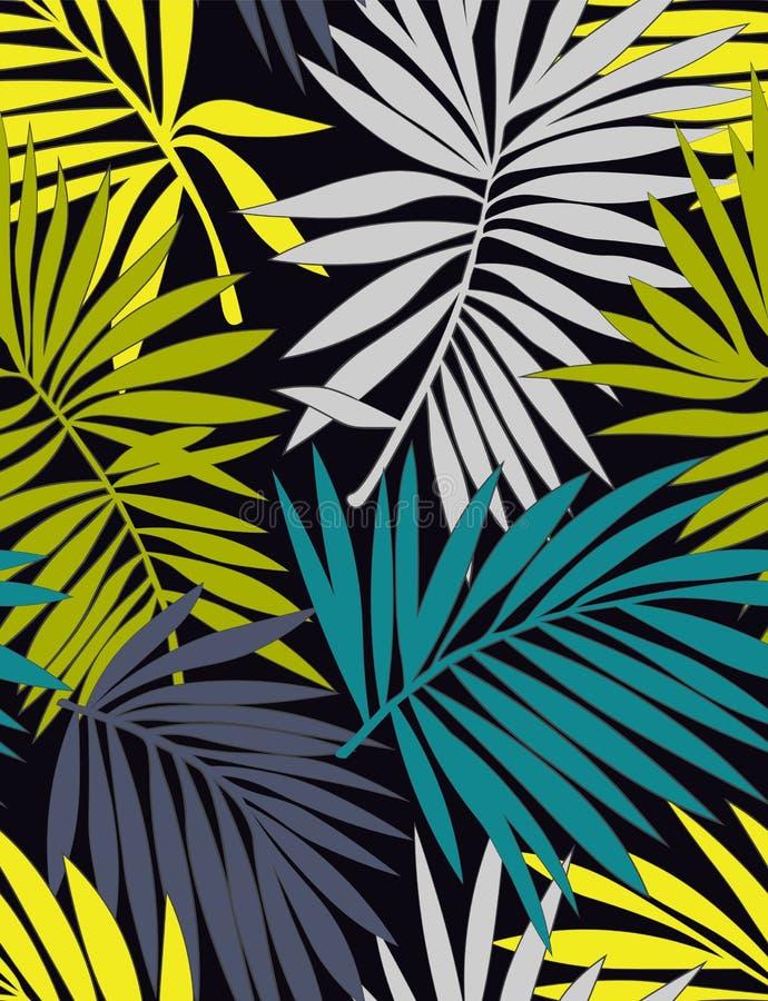 Τροπικό άνευ ραφής σχέδιο με τα φύλλα ελεύθερη απεικόνιση δικαιώματος