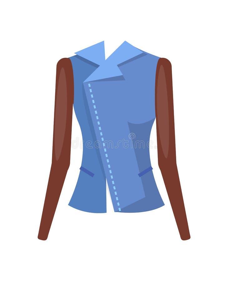 Μοντέρνο θηλυκό σακάκι τζιν με τα μανίκια δέρματος διανυσματική απεικόνιση