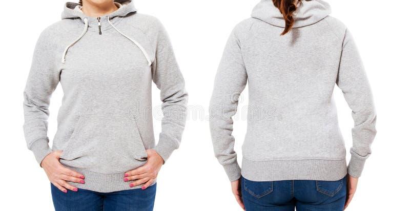 Μοντέρνο θηλυκό σώμα κατά την μπροστινή και πίσω άποψη hoodie - κορίτσι γυναικών στο γκρίζο πρότυπο μπλουζών που απομονώνεται στο στοκ φωτογραφίες