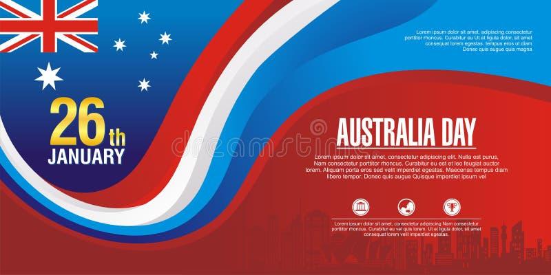 Μοντέρνο ιπτάμενο, με το ύφος σημαιών της Αυστραλίας και το σχέδιο κυμάτων απεικόνιση αποθεμάτων