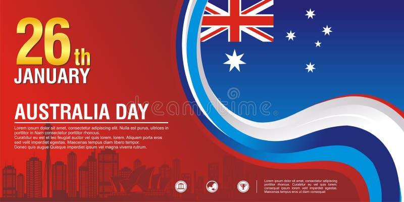 Μοντέρνο ιπτάμενο, με το ύφος σημαιών της Αυστραλίας και το σχέδιο κυμάτων διανυσματική απεικόνιση