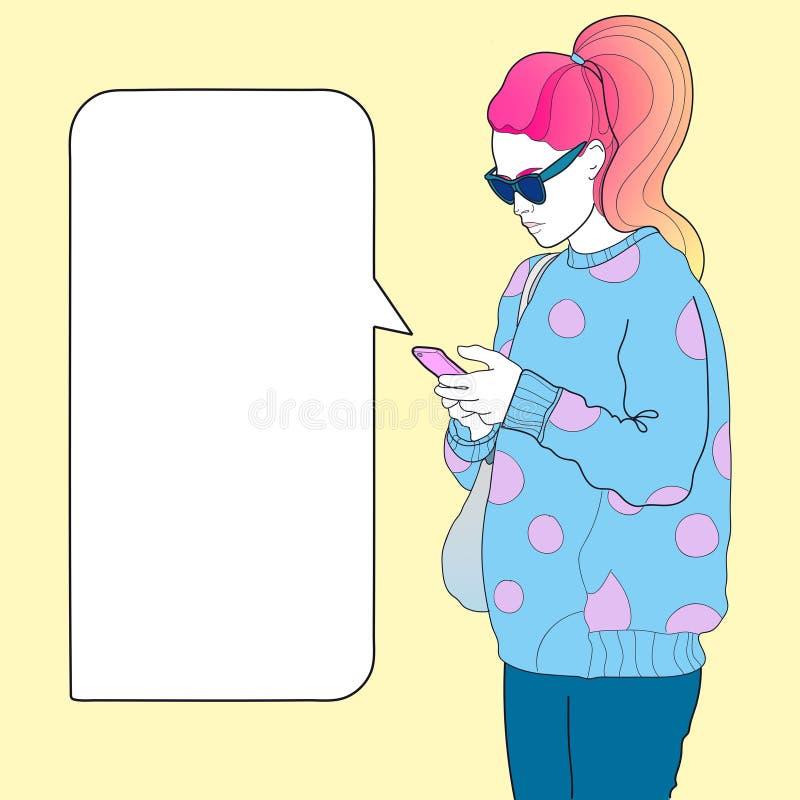 Μοντέρνο κορίτσι με ένα τηλεφωνικό διάστημα για το κείμενο ελεύθερη απεικόνιση δικαιώματος