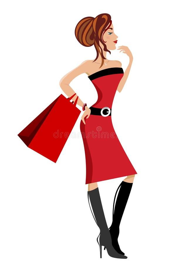 Μοντέρνο κορίτσι με την τσάντα αγορών ελεύθερη απεικόνιση δικαιώματος