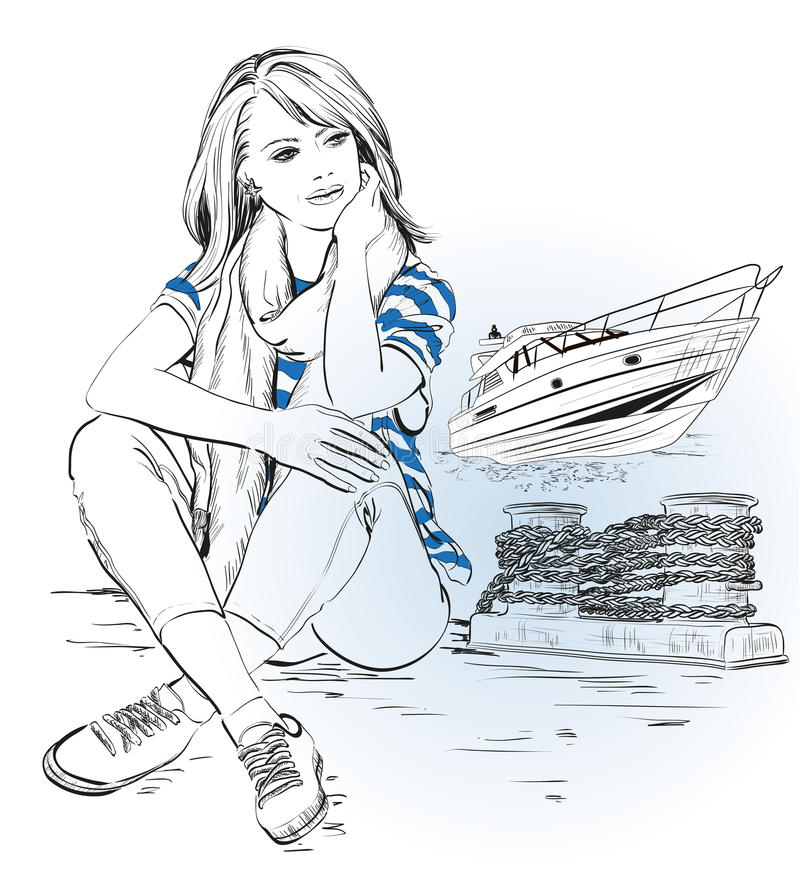 Μοντέρνο κορίτσι σε μια αποβάθρα ενάντια στη θάλασσα και το γιοτ διανυσματική απεικόνιση