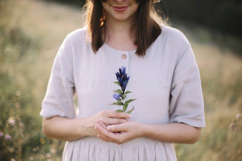 Μοντέρνο κορίτσι στην αγροτική εκμετάλλευση φορεμάτων wildflower υπό εξέταση, στεμένος στο ηλιόλουστο λιβάδι στα βουνά Συλλογή γυ στοκ εικόνες