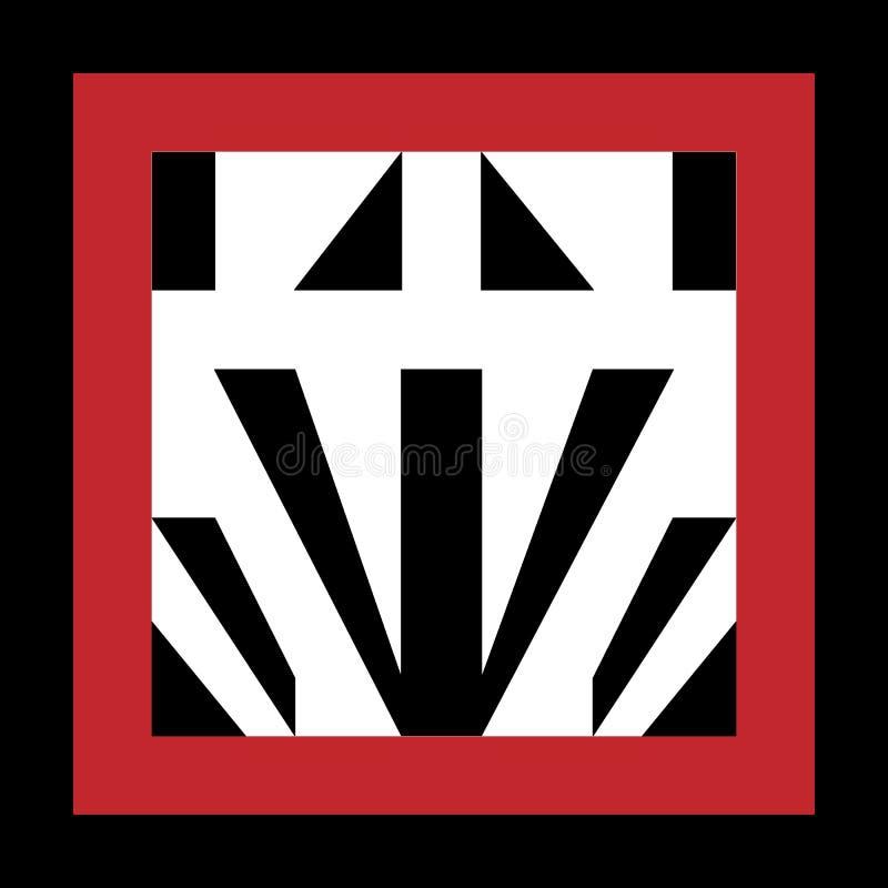 Μοντέρνο μονόγραμμα ή λογότυπο που απομονώνεται στο μαύρο υπόβαθρο ζωηρόχρωμη απεικόνιση απεικόνιση αποθεμάτων