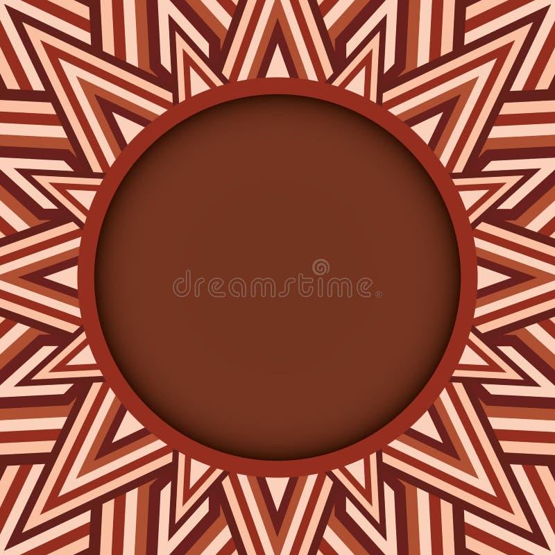 Μοντέρνο σκοτεινό καφετί στρογγυλό πλαίσιο κειμένων ή φωτογραφιών στο διακοσμητικό υπόβαθρο των καφετιών σκιών διανυσματική απεικόνιση