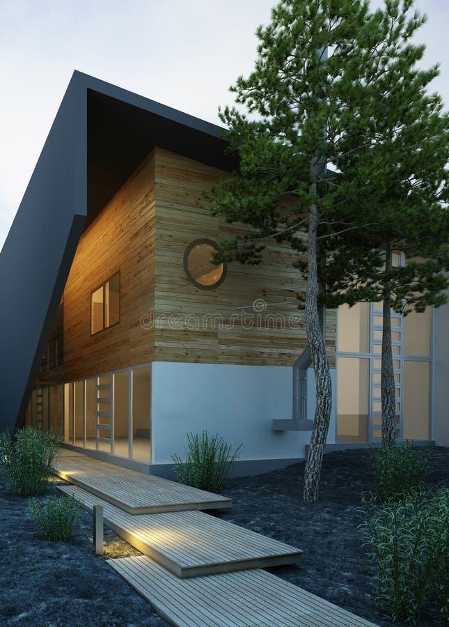 Μοντέρνο σπίτι εξωτερικό στην αυγή διανυσματική απεικόνιση