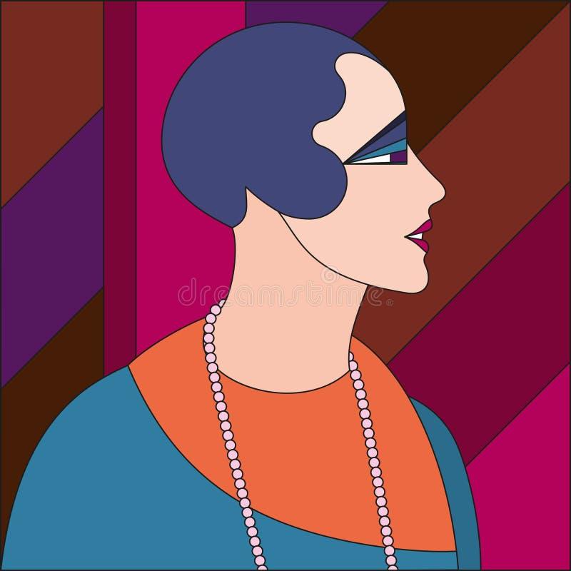 Μοντέρνο σχέδιο γυναικών Λεκιασμένο σχέδιο γυαλιού τέχνης deco ελεύθερη απεικόνιση δικαιώματος