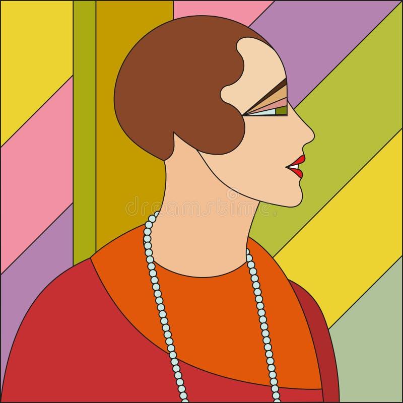 Μοντέρνο σχέδιο γυναικών Λεκιασμένο σχέδιο γυαλιού τέχνης deco διανυσματική απεικόνιση