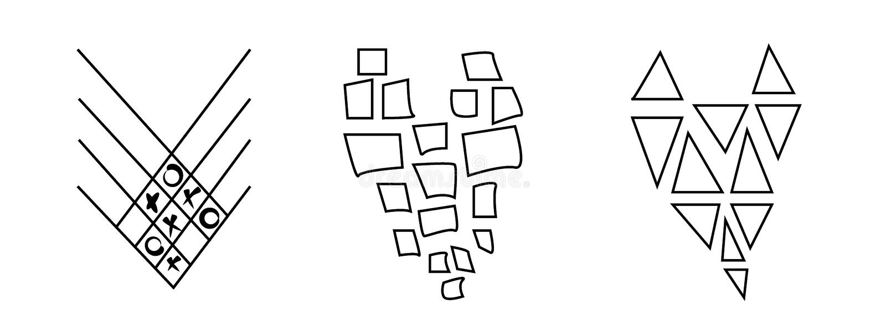 Μοντέρνο, σύγχρονο, αφηρημένο σύνολο γραπτών καρδιών που απομονώνεται στο άσπρο υπόβαθρο Διάνυσμα στο γραφικό ύφος διανυσματική απεικόνιση