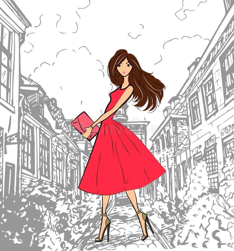 Μοντέρνο χαριτωμένο κορίτσι στο ρόδινο φόρεμα που περπατά κάτω από την οδό απεικόνιση αποθεμάτων