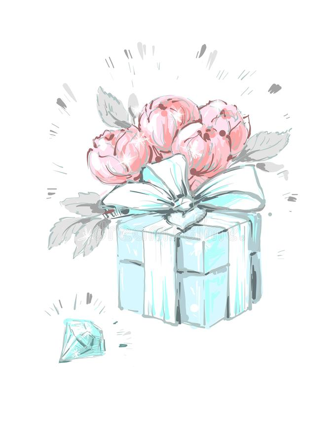 Μοντέρνο peony κιβώτιο λουλουδιών με το διαμάντι και το τόξο Βοηθητική απεικόνιση μόδας στα καθιερώνοντα τη μόδα μαλακά χρώματα γ διανυσματική απεικόνιση