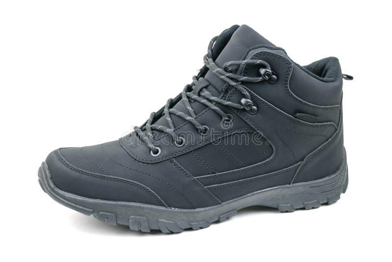 Μονωμένα παπούτσια των μαύρων στο αριστερό πόδι σε ένα άσπρο υπόβαθρο στοκ εικόνες με δικαίωμα ελεύθερης χρήσης