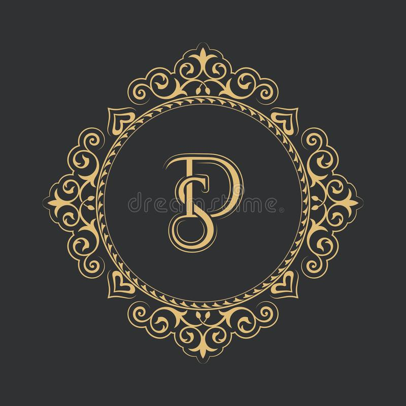 Μονόγραμμα από το συνδυασμό των γραμμάτων SD στο κομψό πλαίσιο λουλουδιών μπαρόκ ύφος τοποθετήστε το κείμενο Χρυσό πρότυπο για το ελεύθερη απεικόνιση δικαιώματος