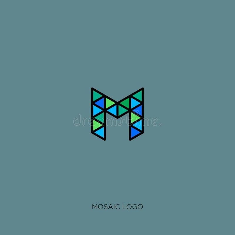 Μονόγραμμα Μ Λογότυπο Μ Έμβλημα μωσαϊκών ή κατασκευής Γράμμα Μ όπως μια γραμμική δομή ελεύθερη απεικόνιση δικαιώματος